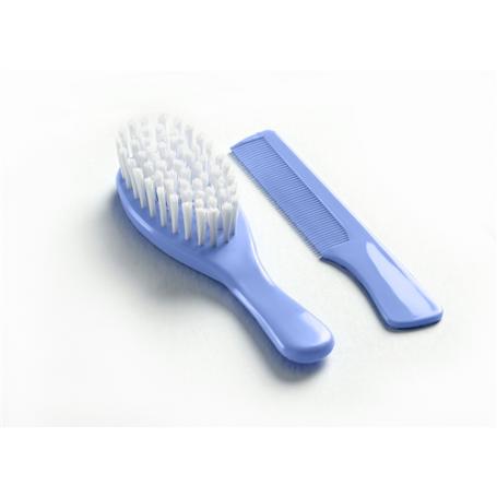 Brosse et peigne bleu indigo
