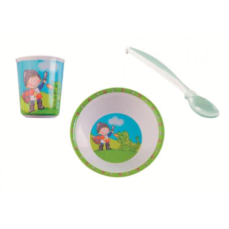 Lot vaisselle chevalier bol+ gobelet+ cuillère