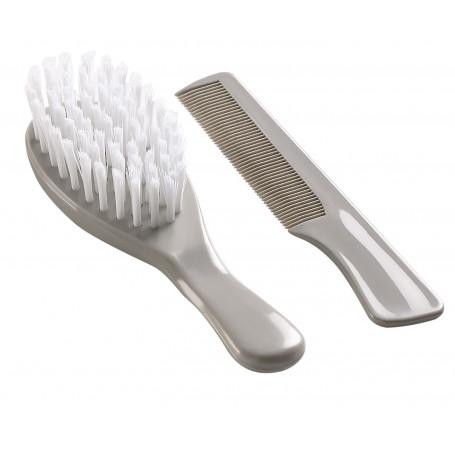Brosse et peigne gris